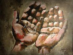 """""""Amor por Juana"""" Acrílico sobre tela                          14 x 18 in.                                      Colección """" en las redes del pescador"""".                                          Trabajo por Gaviota libre art"""