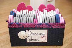 Dancing shoes - lots of flip flops! - Navy & Pink Wedding - Beach Wedding
