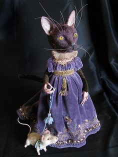 Whimsical cat doll in beautiful purple velvet gown. By Tireless Artist. Marionette, Cat Doll, Paperclay, Little Doll, Soft Sculpture, Ball Jointed Dolls, Fabric Art, Handmade Toys, Beautiful Dolls