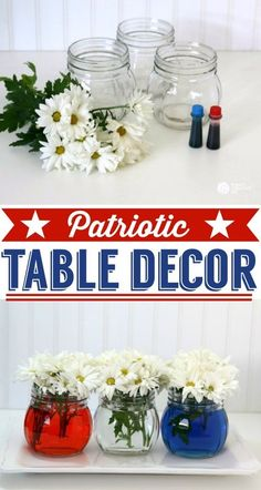 Easy Patriotic Table Decor | 4th of July table decoration | Red, White and Blue | See more creative ideas on TodaysCreativeLif...