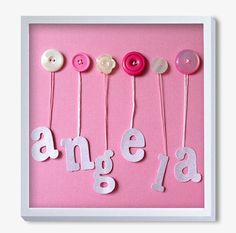 Nursery Art Baby Art Button Art Baby Girl Artwork Pink by quebee, $30.00