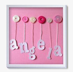 Nursery Art Baby Art Button Art Baby Girl Artwork Pink by quebee, $30.00