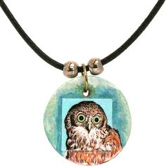 Owl  Necklace Wearable Art on wooden pendant by LorikArt on Etsy, $26.00