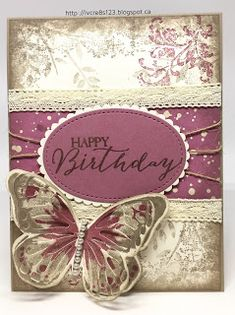 Linda Vich Creates: Beautiful Butterfly Birthday. Timeless Textures combines with beautiful butterflies to produce a elegant vintage-style card.