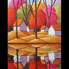 14x18 Autumn River Original Modern Folk Art Painting Abstract Landscape Horvath | eBay