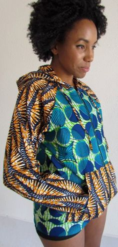 African Print Mix Summer Hoodie by ifenkili on Etsy ~Latest African Fashion, African Prints, African fashion styles, African clothing, Nigerian style, Ghanaian fashion, African women dresses, African Bags, African shoes, Nigerian fashion, Ankara, Kitenge, Aso okè, Kenté, brocade. ~DK