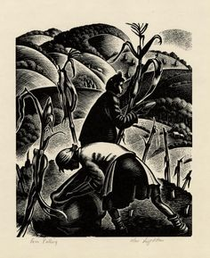 Corn Pulling, 1952 by Clare Leighton Rockwell Kent, Norman Rockwell, Picture Engraving, Wood Engraving, Scratchboard Art, Woodblock Print, American Artists, Word Art, Printmaking