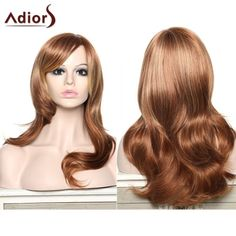 Women's Stylish Adiors Curly Long Inclined Bang Synthetic Wig #>=#>=#>=#>=#> Click on the pin to check out discount price, color, size, shipping, etc. Save and like it!