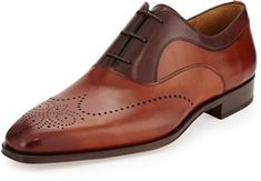33497e71 New Handmade Men's Two-Tone Perforated Oxford, Cognac/ Brown leather shoes
