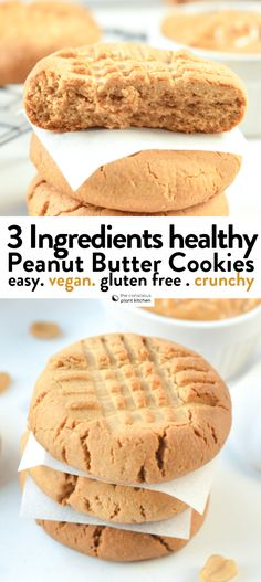 VEGAN 3 INGREDIENTS PEANUT BUTTER COOKIES, healthy, easy gluten free crunchy cookies with no egg aesthetic bread cakes cookies cupcakes ideas photography tips baking baking baking baking Bon Dessert, Dessert Aux Fruits, Low Carb Dessert, Vegan Sweets, Healthy Sweets, Healthy Baking, Healthy Meals, Healthy Recipes, Chili Recipes