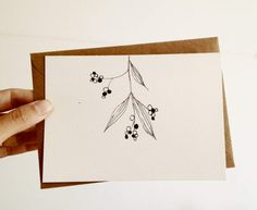 Hand Drawn Christmas Card, Mistletoe Card in black and white with kraft…