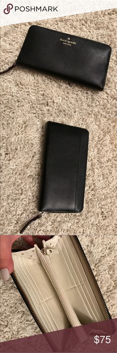 New Black Kate Spade Zip Wallet never used & in perfect condition  black leather wallet with nude polka dot interior  full zip closure kate spade Bags Wallets