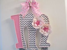 """BOW HOLDER sparkly pink and gray chevron, Initial """"M"""", shabby chic pink flowers, pink pearl trim, gray with pink polka dot ribbon hangers on Etsy, $17.00"""