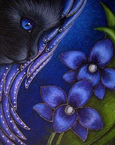Black Angel Cat, Violet Orchids by Cyra R. Cancel