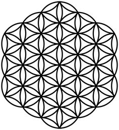 The flower of life is a geometrical shape composed of multiple evenly-spaced, overlapping circles arranged in a flower like pattern with six fold symmetry.