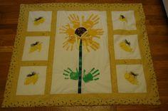 Sunflower quilt made from children's handprints...made it for a fundraiser!