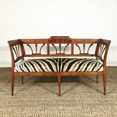 19th Century Fruitwood and Rosewood Settee