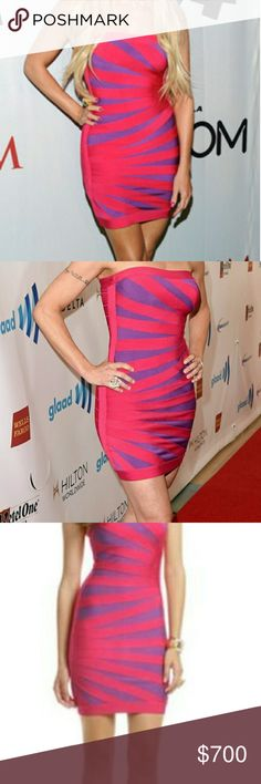 Authentic Herve Leger Bianca Bandage Dress The tube bandage dress in pink and purple with asymetric front and concealed zip-fastening at the back looks sexy but yet elegant! With this cocktail dress you'll be the shining star at every event - Creates a stunning silhouette, fits tightly and sizes slightly bigger. The Herve Leger woman knows she will make an unforgettable statement, whether walking the red carpet or having a fun night out. 90% Rayon, 9% Nylon, 1% Spandex. Runs one size larger…