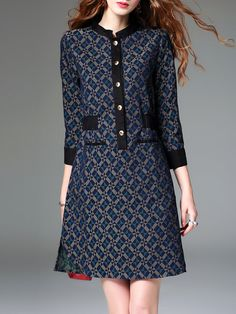 #AdoreWe #StyleWe Dresses - ELENYUN Multicolor Long Sleeve Paneled Geometric Printed Midi Dress - AdoreWe.net