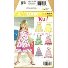 New Look 6613 Sewing Pattern Girls' Summer Sundress Size 3 4 5 6 7 8 untrimmed 039363298984 on eBid Canada
