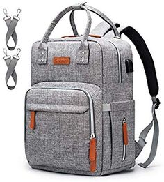 Diaper Bag Backpack Upsimples Multi-Function Maternity Nappy Bags for Mom&Dad, Baby Bag with Laptop Pocket,USB Charging Port,Stroller Straps -Light Grey Diaper Backpack, Diaper Bag Backpack, Tote Bag, Laptop Backpack, Baby Bags For Mom, Dad Baby, Diaper Bags For Dads, Big Handbags, Warriors