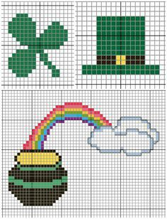 Patricks Day Cross Stitch Patterns via Hopeful Honey Cross Stitch Cards, Cross Stitching, Cross Stitch Embroidery, Cross Stitch Patterns, Loom Beading, Beading Patterns, Crochet Patterns, St Patrick's Cross, Iron Beads