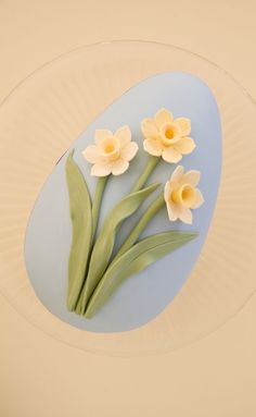 Easter egg cake decorated with gum paste daffodils on http://cakejournal.com/cake-lounge/easter-egg-cake-decorated-with-gum-paste-daffodils/