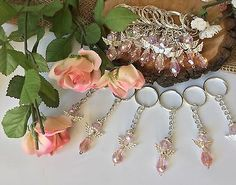 Bulk 20 Pink Angel With Wings Keychain Rosary Baptism Communion Wedding Favors Pearl Color, Silver Color, Pink Color, Communion Favors, Baptism Favors, Tiny Heart, Wedding Party Favors, Party Supplies, Angel