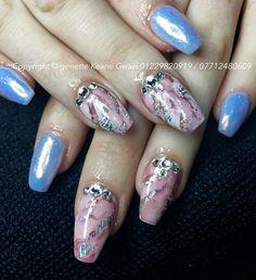Marble nail art & Swarovski crystal nails