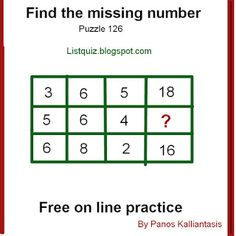 Brain teasers and puzzles: Puzzle 126-missing number Missing Number, Number Puzzles, Brain Teasers, Numbers, This Or That Questions, Free, Collection, Mind Games, Numeracy