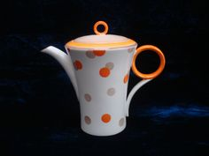 Shelley china Art deco Regent coffee pot orange polka dot pattern W12210