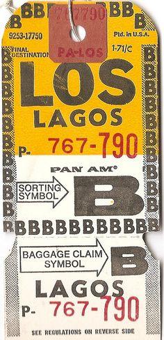 Pan Am - LOS Lagos Baggage Tag