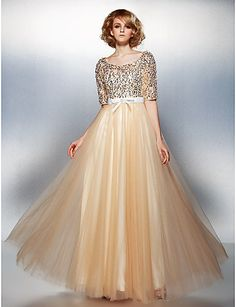 A-line Scoop Floor-length Tulle And Sequined dress