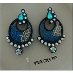 Quilled Earrings(studs) Price-50rs. mansid281@gmail.com Creyons Pinterest Quilling