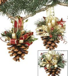 Pine Cone Ornaments  Great Idea. Beautiful way to be nature into your home during the holidays.