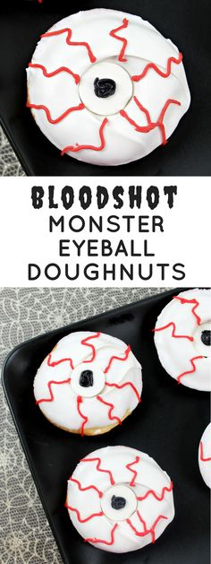 Bloodshot monster eyeball doughnuts make the perfect creepy Halloween dessert! Just mix, bake, and decorate and this spooky treat will be ready in no time! - from crayonsandcravings.com