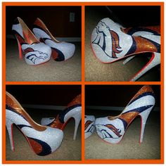 Denver Broncos custom heels Away Edition by Akkustomz on Etsy Broncos Gear, Denver Broncos Football, Broncos Fans, Best Football Team, Football Season, Broncos Memes, Football Baby, Denver Donkeys, Denver Broncos Womens