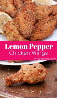 *TRIED & TRUE* Easy lemon pepper wings made with fresh lemon and cracked black pepper! Made with homemade lemon pepper seasoning. Lemon Pepper Chicken Wings, Crispy Chicken Wings, Fried Chicken, Chicken Breasts, Chicken Soup, Keto Chicken, Dinner Party Appetizers, Party Snacks, Chicken Stuffed Peppers