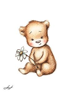 The drawing of cute teddy bear with with daisy. Printable ...