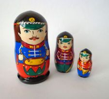 Matryoshka toy soldiers, nesting dolls for a boy, set 3 stacking dolls