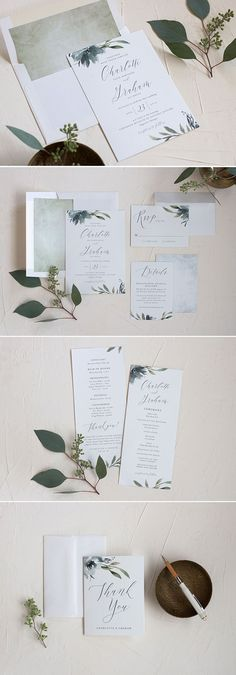 Muted Floral Wedding Invitation Suite with greenery and florals
