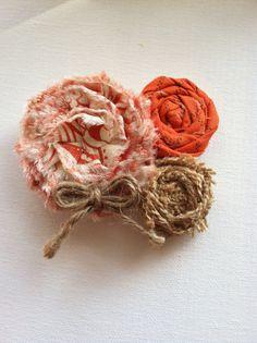 Orange and Burlap Pin or Headband