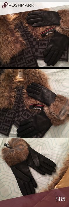"🎁💡2-pc bundle gloves & collar ⭐️Gift ideas! 2-piece bundle 🆕 Fownes genuine leather gloves with rabbit fur and poly lining. size 6 1/2.   And H&M faux fur collar with one hook & eye closure. Measures 22"" long from hook ends. Both pieces are New in excellent condition.  If you would like just one let me know and I could make a separate listing for you 😉 Fownes Accessories Gloves & Mittens"