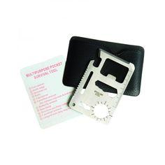 Utilizzi:    - Apri bottiglie  - Coltellino  - Cacciavite  - Righello  - Apriscatole  - Chiave Inglese  - Seghetto  - Foro per agganciare le chiavi  Acciaio Inox
