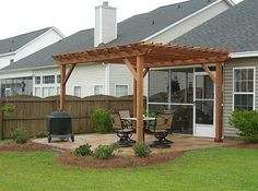 A modern pergola adds style and shade to your backyard. When you want to build a pergola to your patio or backyard, surely you will need posts, larger pots for plants, and other materials. Pergola Patio, Gazebo, Metal Pergola, Wooden Pergola, Backyard Patio, Backyard Landscaping, Patio Wall, Cheap Pergola, Pergola Shade