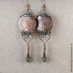 Earrings handmade. Fair Masters - handmade earrings with chrysocolla. Handmade.