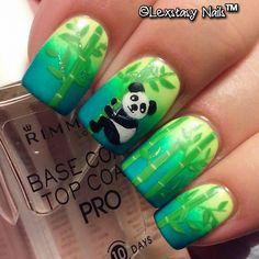 Cutest panda nail art I've ever seen! pretty bamboo and gradient! by lexstasynails #fav