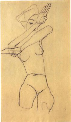 Figure Drawing by Egon Schiele