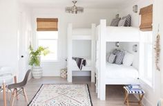 Inlet Beach house tour from Crowell + Co Interiors is a new favorite of mine. It has bright natural light, clean lines, and good modern casual vibes. Bunk Beds Small Room, Bunk Bed Rooms, Bunk Beds Built In, Modern Bunk Beds, Bunk Beds With Stairs, Kids Bunk Beds, Small Rooms, Corner Bunk Beds, Beach House Tour
