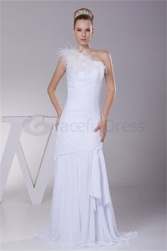Sheath/ Column One-shoulder Floor-length Wedding Dress  http://www.GracefulDress.com/Sheath-Column-One-shoulder-Floor-length-Wedding-Dress-p20747.html